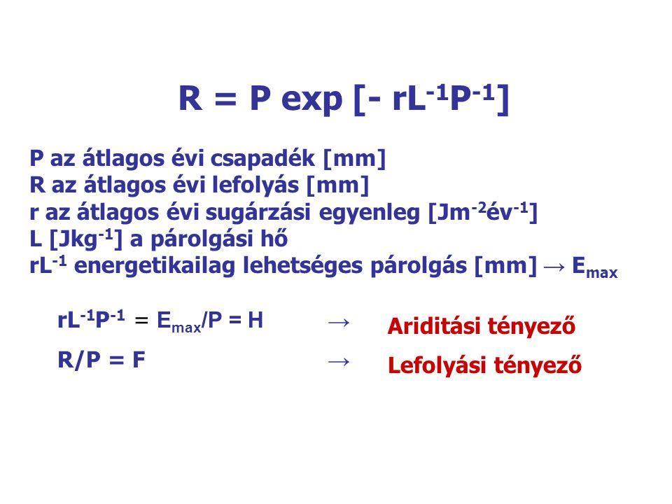 R = P exp [- rL-1P-1] P az átlagos évi csapadék [mm]